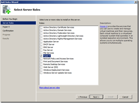 Hyper-V Add Role Screenshot