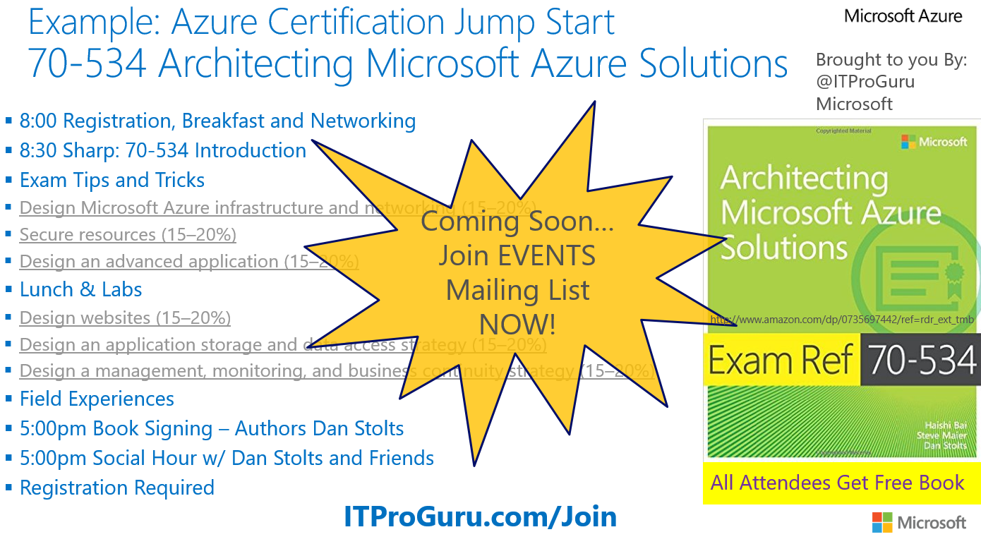 Technet radio part 1 certification exam jump start 70 534 70 534 event coming soon 1betcityfo Images