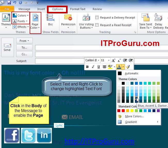 Outlook Email Message Change Background Color Font And More Itproguru Blog