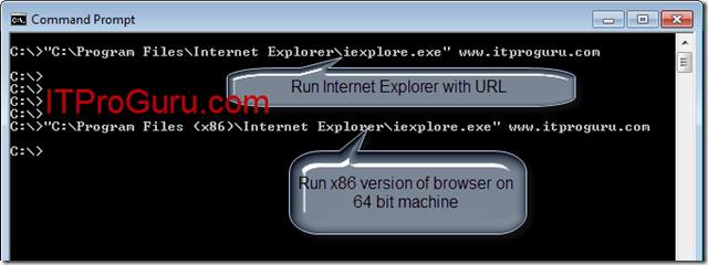 Run Internet Explorer (IE) from Command Prompt or Batch File
