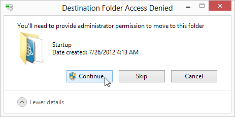 'Destination Folder Access Denied', just click 'Continue'