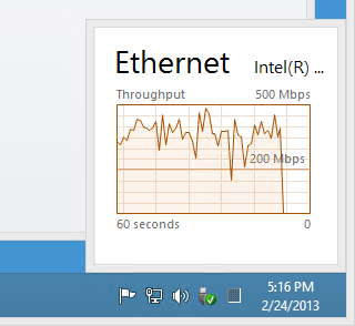 "Task Manager special collapsed view of Ethernet, obtained by click 'Performance"" tab, then single-clicking on Ethernet at left, then double-clicking on graph at right"