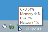 mouse-over minimized 'Task Manager', and it'll pop-up CPU, Memory, Disk, and Network utilization