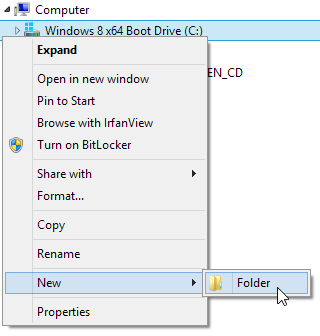open 'Windows Explorer' using Win plus E keys, right-click on C drive, choose 'New', 'Folder', type 'command' then hit Enter