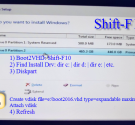 Where to Install Windows Screenshot - Shift-F10 for diskpart