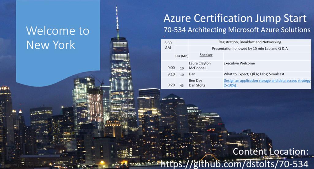 70-534 Architecting Azure Solutions Event Summary